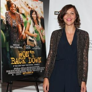 "Hipster chic: Maggie Gyllenhaal at a screening of her coming education-reform tale, ""Won't Back Down."""